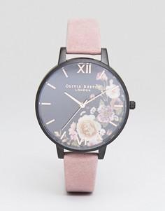 Часы с розовым замшевым ремешком и цветочным принтом Olivia Burton OB16AD26 After Dark - Розовый