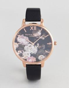 Часы с черным кожаным ремешком и цветочным рисунком Olivia Burton OB15WG12 - Черный