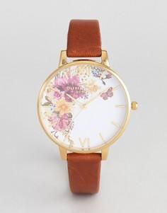 Часы со светло-коричневым кожаным ремешком Olivia Burton OB16EG94 Enchanted Garden - Рыжий