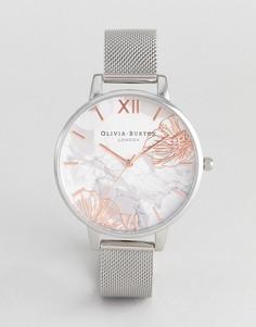 Серебристые часы с сетчатым браслетом и абстрактным цветочным принтом Olivia Burton OB16VM20 - Серебряный