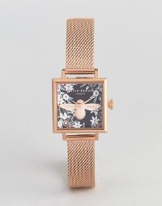 Квадратные часы цвета розового золота Olivia Burton OB16AM134 - Золотой