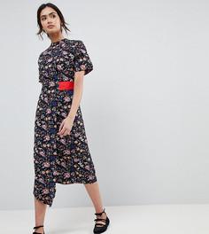 Асимметричное платье с запахом, цветочным принтом и контрастной вставкой Influence Tall - Мульти