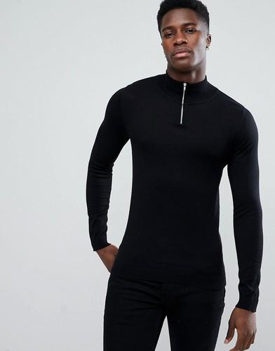 Черный хлопковый джемпер с молнией до груди ASOS - Черный