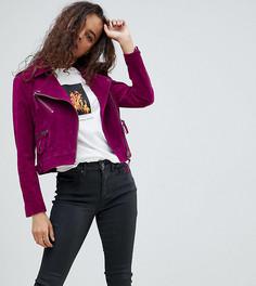 Замшевая байкерская куртка ASOS PETITE - Фиолетовый