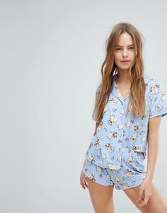 Пижама с шортами и принтом Chelsea Peers - Синий