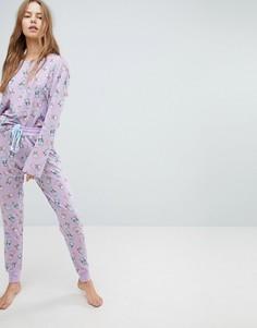 Пижамный комплект из топа и штанов с принтом котов Chelsea Peers - Фиолетовый