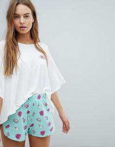 Пижамные шорты с принтом кроликов Chelsea Peers - Зеленый