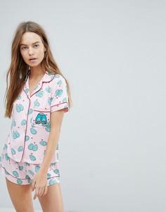 Пижама с шортами и принтом авокадо Chelsea Peers - Красный
