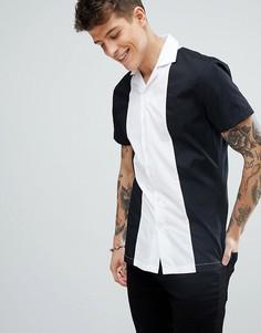 Приталенная рубашка со вставками и воротником в виде лацканов Noose & Monkey - Черный