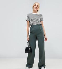 Широкие брюки со складками ASOS TALL - Зеленый