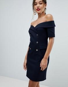 Платье-футляр с открытыми плечами Morgan - Темно-синий