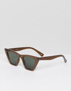 Солнцезащитные очки кошачий глаз в квадратной оправе ASOS - Коричневый
