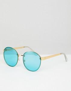 Круглые солнцезащитные очки в золотистой оправе с бирюзовыми стеклами ASOS - Золотой