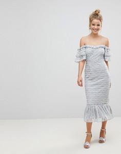 Кружевное платье-футляр миди с оборками ASOS - Серый