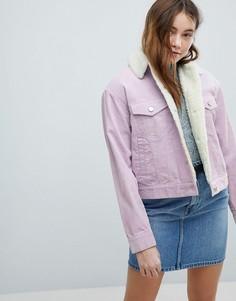 Сиреневая вельветовая куртка с воротником из искусственного меха ASOS - Фиолетовый