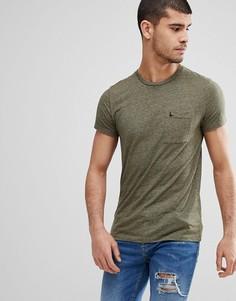 Зауженная футболка оливкового цвета с карманом Jack Wills Ayleford - Зеленый