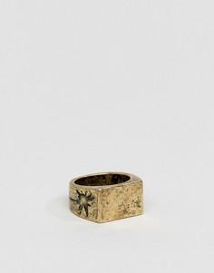 Золотистое полированное кольцо с крестом Classics 77 - Золотой