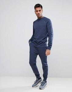 Меланжевый спортивный костюм со свитшотом и джоггерами скинни ASOS - Синий