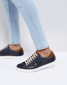 Темно-синие кожаные кроссовки Base London Wafer - Темно-синий