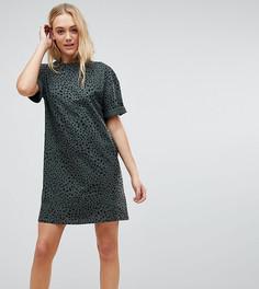 Платье-футболка с отворотами на рукавах и леопардовым принтом ASOS TALL Ultimate - Мульти