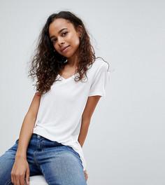 Свободная футболка с V-образным вырезом ASOS PETITE - Белый
