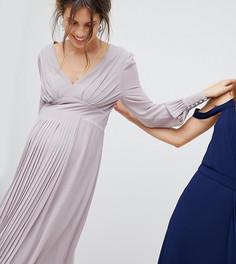 Платье миди с длинными рукавами и плиссированной юбкой TFNC Maternity WEDDING - Серый