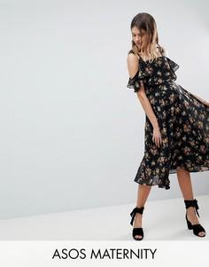 Приталенное платье миди с открытыми плечами и цветочным принтом ASOS MATERNITY - Мульти