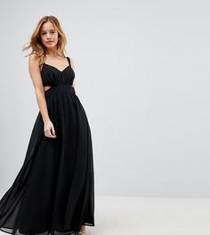 Платье макси на бретельках с вырезами по бокам ASOS PETITE - Черный
