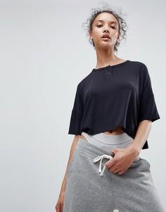 Укороченная оверсайз-футболка с пуговицами спереди ASOS - Серый
