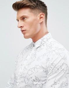 Рубашка с цветочным принтом Solid - Белый