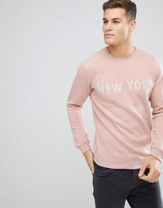 Розовый меланжевый свитшот с принтом New York Solid - Розовый
