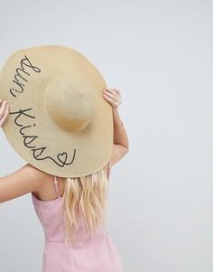 Соломенная шляпа с надписью Sun Kiss из пайеток ASOS - Золотой