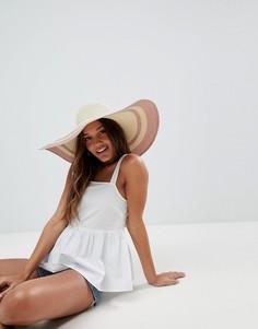 Соломенная шляпа регулируемого размера с отделкой металлик ASOS - Бежевый