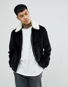 Черная вельветовая куртка с воротником из искусственного меха ASOS - Черный