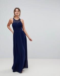 Декорированное длинное платье Little Mistress - Темно-синий