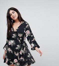Платье с запахом, оборками и принтом цветов и птиц Influence Plus - Черный