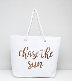 Пляжная сумка с принтом Chase The Sun South Beach - Золотой