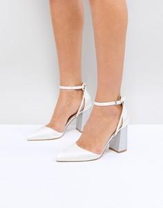 Атласные босоножки на каблуке цвета слоновой кости Be Mine Bridal Lissy - Белый