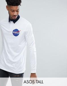 Длинный лонгслив-поло ASOS TALL NASA - Белый