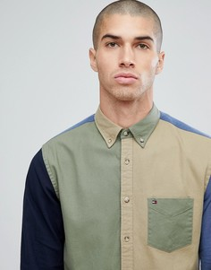 Зеленая/бежевая рубашка классического кроя в стиле колор блок Tommy Hilfiger - Мульти