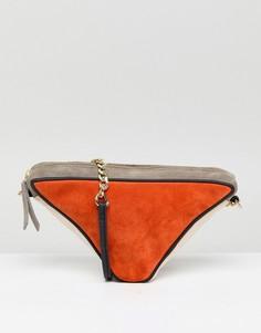 Замшевая треугольная сумка через плечо ASOS - Мульти