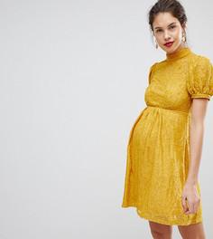 Кружевное платье мини с пышными рукавами ASOS MATERNITY - Желтый