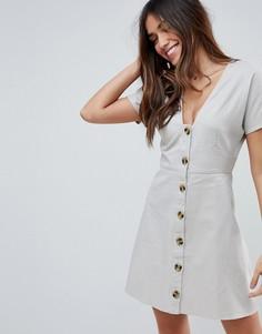 Короткое приталенное платье в стиле casual на пуговицах ASOS - Бежевый