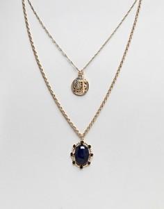 Ярусное ожерелье в винтажном стиле с камнями ASOS - Золотой