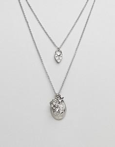 Ярусное ожерелье в винтажном стиле с подвесками ASOS - Серебряный