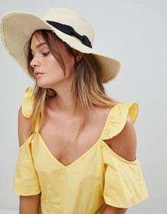 Соломенная широкополая шляпа с черной лентой South Beach - Бежевый