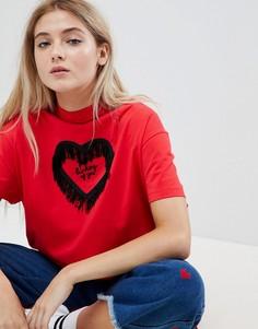 Oversize-футболка с надписью Not Thinking Lazy Oaf Valentines - Красный
