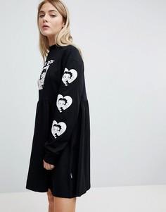 Трикотажное платье с принтом на рукавах Lazy Oaf X Betty Boop - Черный
