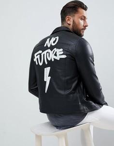Кожаная байкерская куртка с принтом No Future Religion - Черный