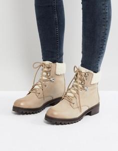 Серо-коричневые кожаные походные ботинки на шнуровке ALDO Uleladda - Бежевый